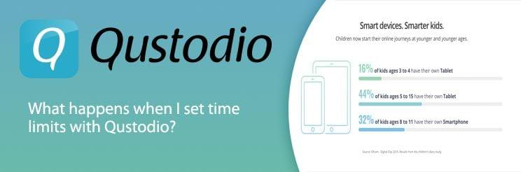 What happens when I set time limits with Qustodio?
